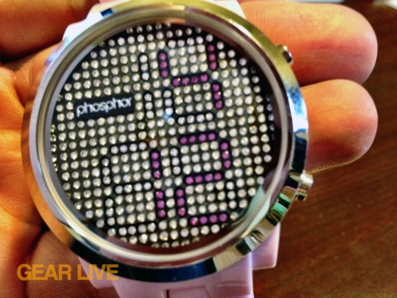 Phosphor Appear watch face up close
