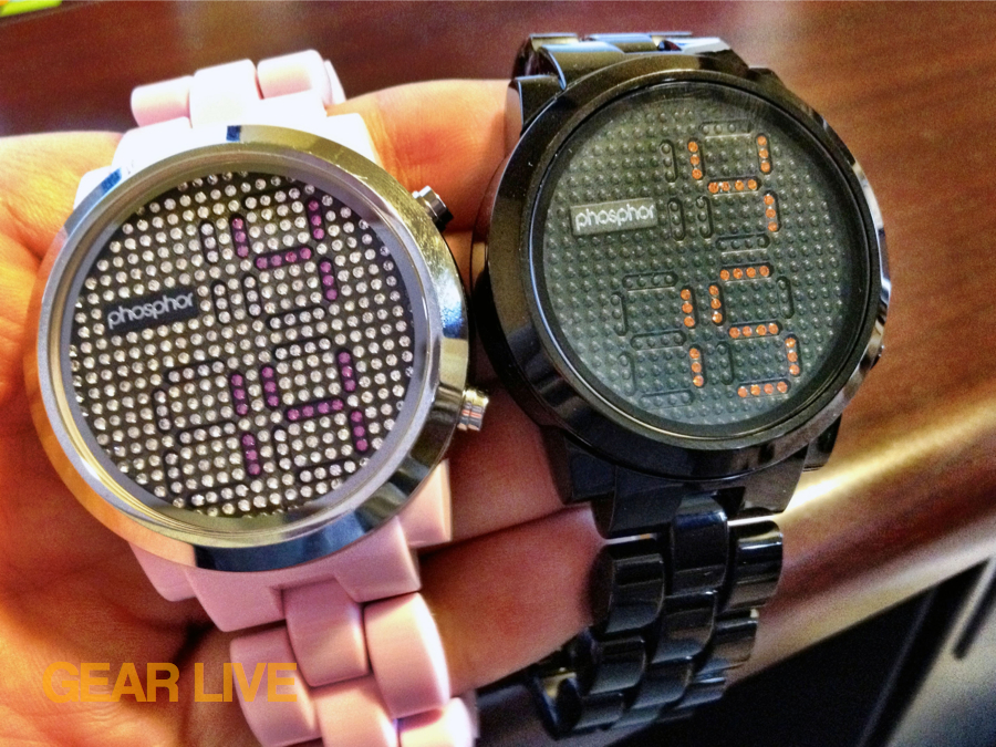 Phosphor Appear pink and black nylon watches