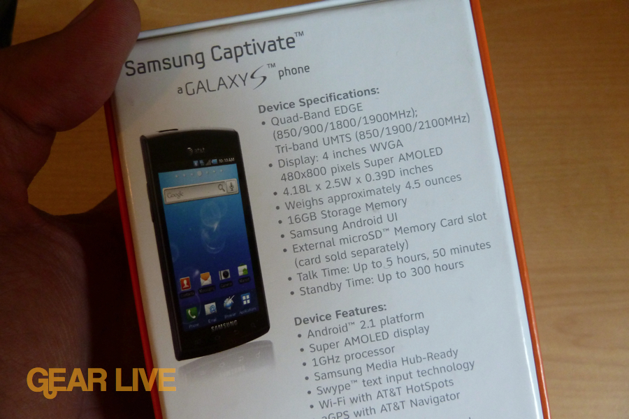Samsung Captivate specifications
