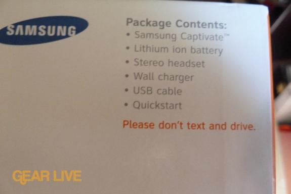 Samsung Captivate Galaxy S box contents