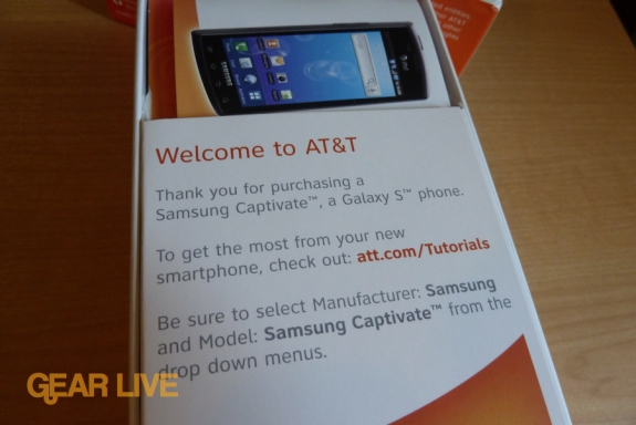Samsung Captivate Welcome to ATT