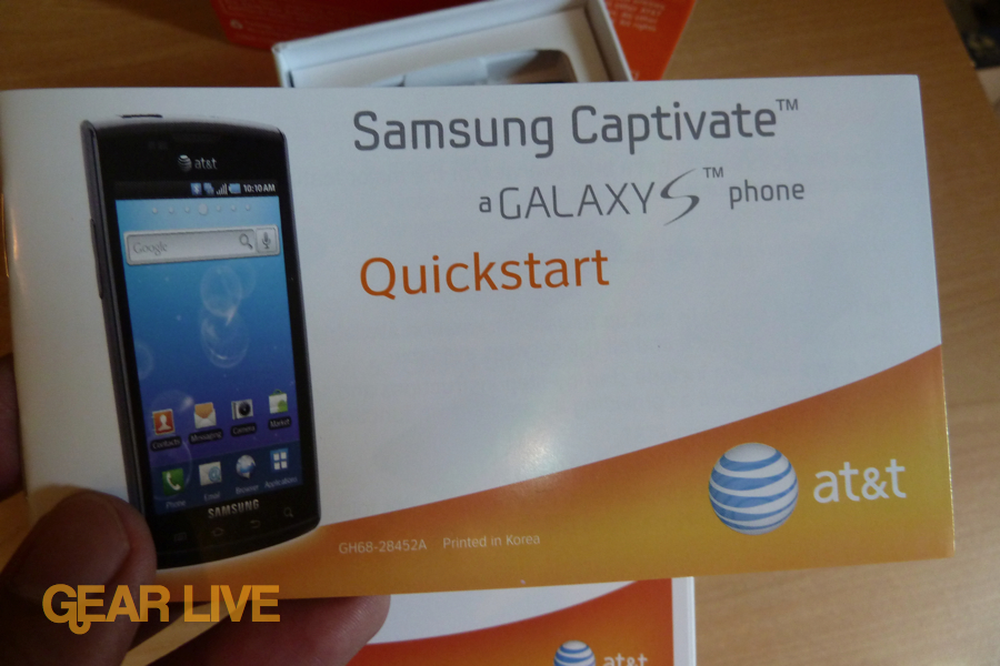 Samsung Captivate Quickstart guide