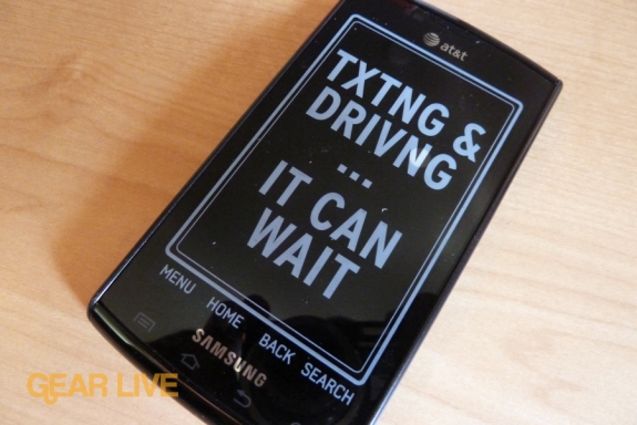 Samsung Captivate Texting and Driving