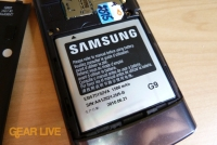 Samsung Captivate battery inserted