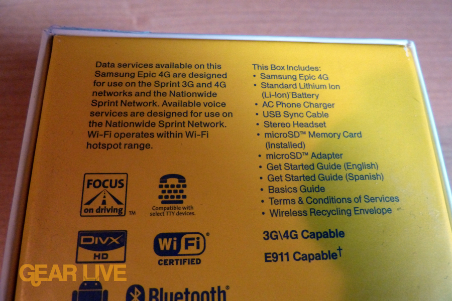 Samsung Epic 4G box back