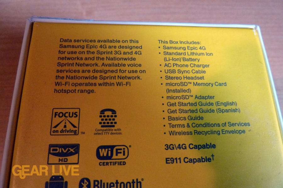 Samsung Epic 4G box back