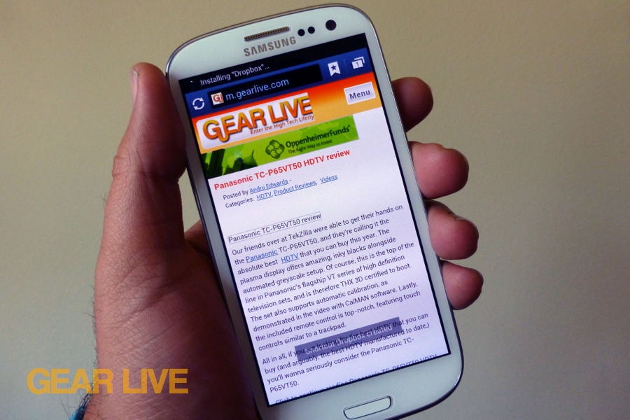 Samsung Galaxy S III browser