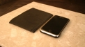 Skinny Wallet next to iPhone