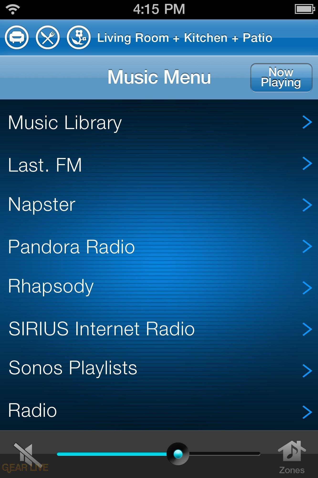 Sonos iPhone: List View