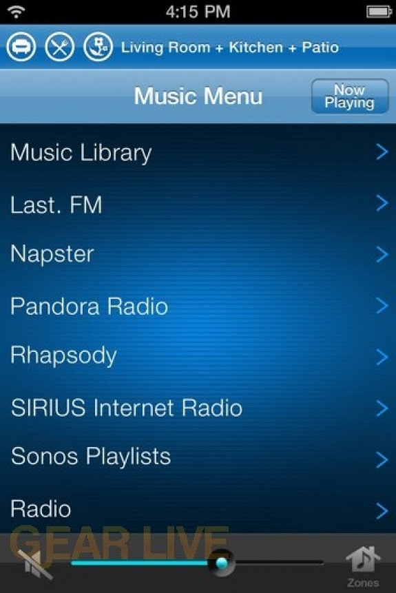 Sonos iPhone: List View (Low Res)