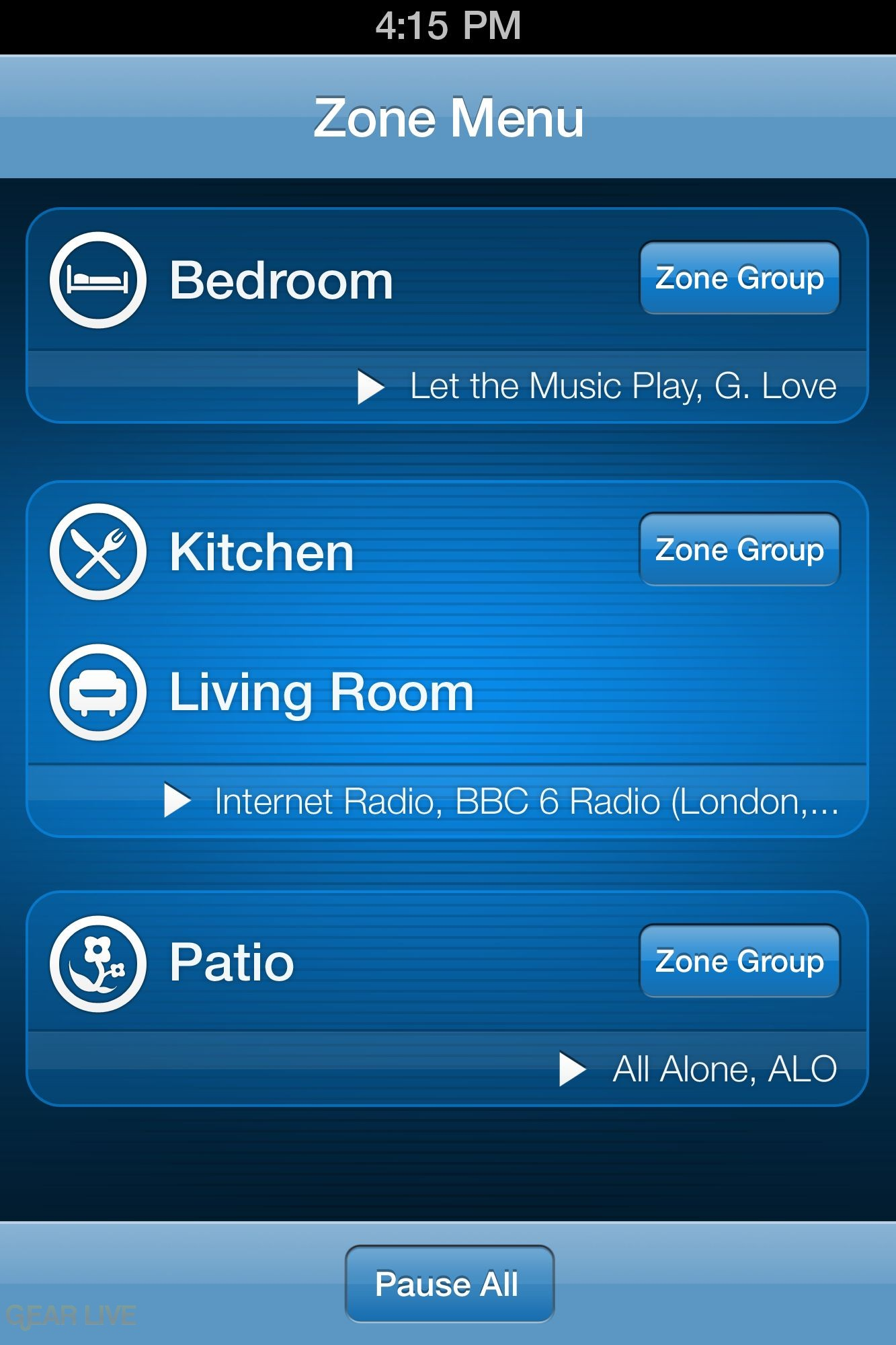 Sonos iPhone: Zone Menu