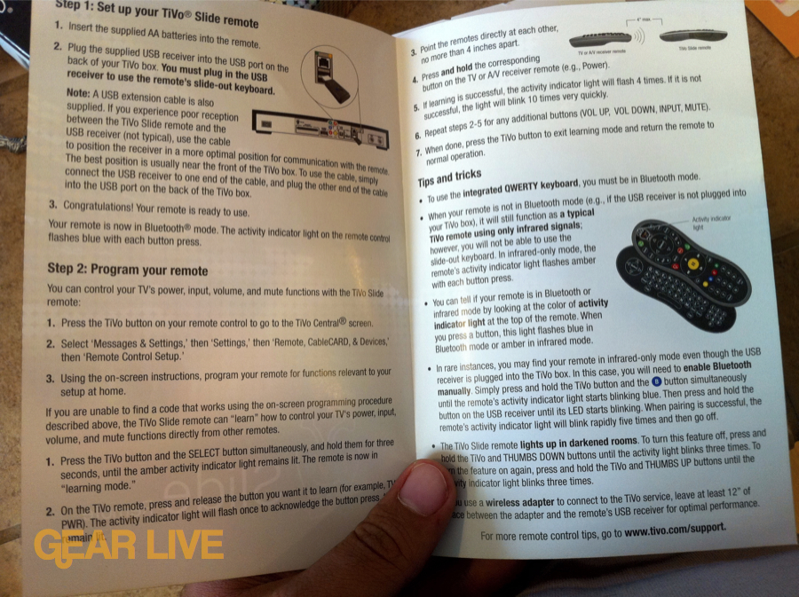 TiVo Slide remote setup instructions