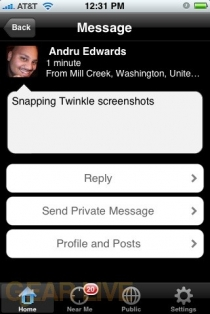 Twinkle message view screen