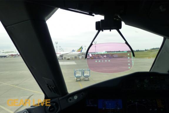 United Boeing 787 Dreamliner Cockpit HUD