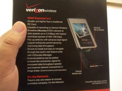 Verizon V640: The Back of the Box