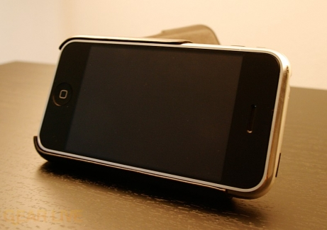 iPhone in Vaja iVolution Case Propped Up