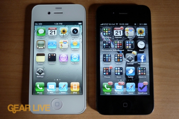 White and black iPhone 4 displays