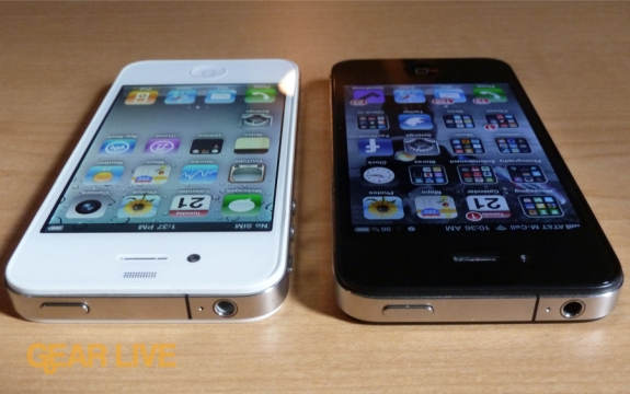 White iPhone 4 and black iPhone 4 top