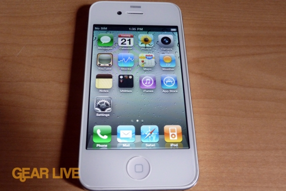 White iPhone 4 powered on