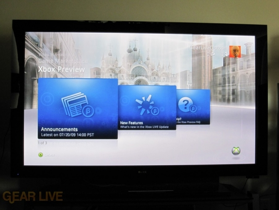 Xbox 360 Dashboard Preview Section