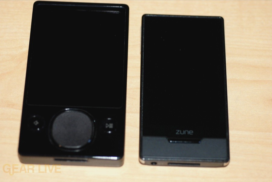 Zune HD vs. Zune 120 size comparison