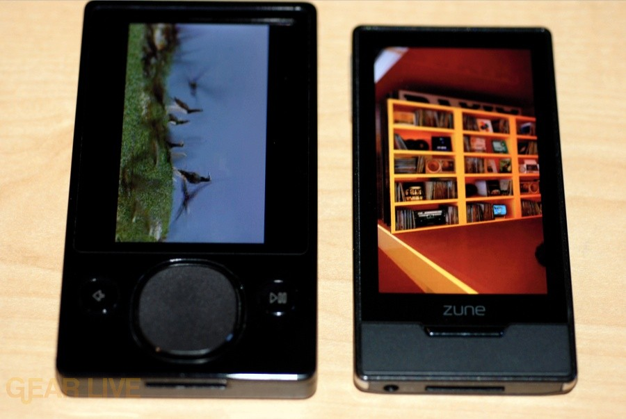 Zune HD OLED screen vs Zune 120 display