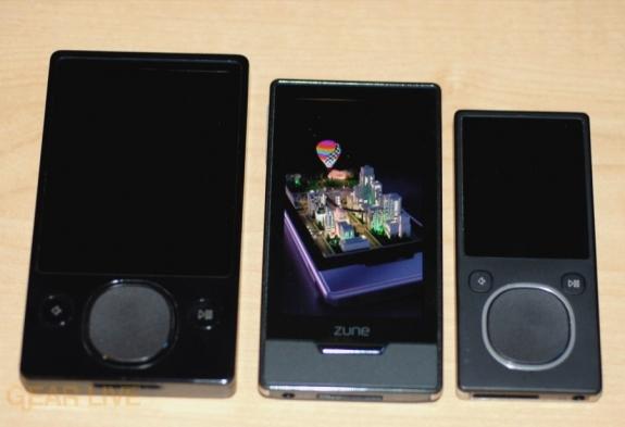Zune HD vs. Zune 120 vs. Zune 8 size comparison