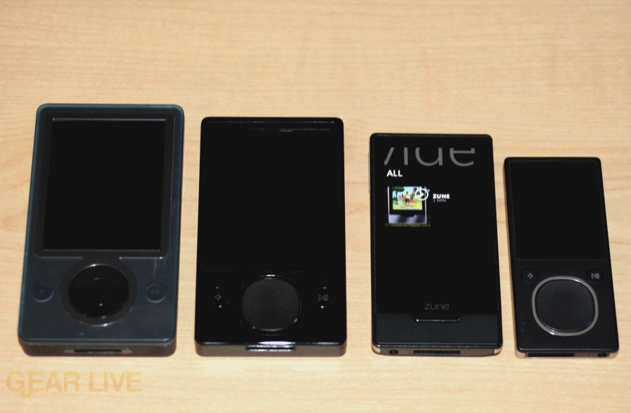 Zune HD vs. Zune 120 vs. Zune 8 vs. Zune 30 size comparison