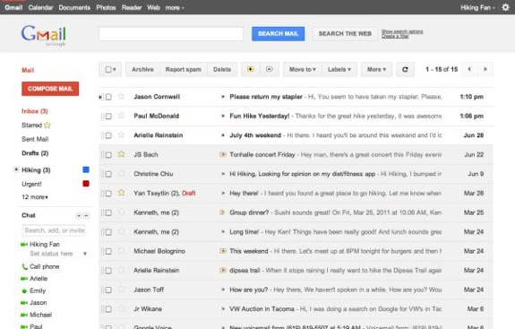 Gmail Google+ redesign