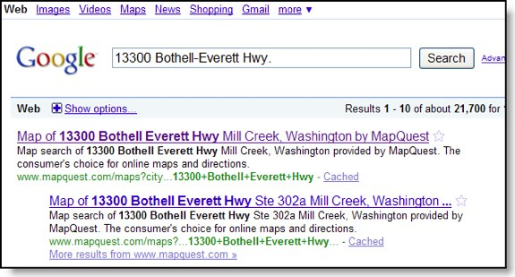 Google Mapquest results