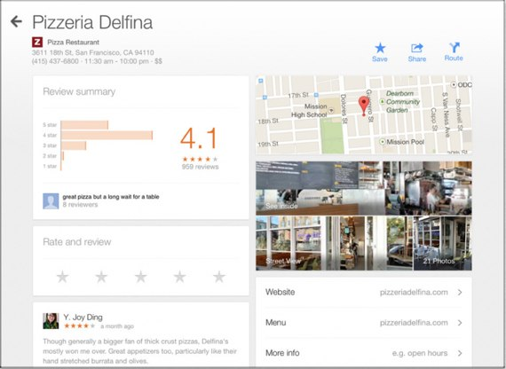 Google Maps Zagat ratings