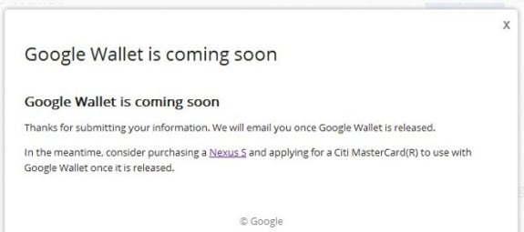 google wallet citi nexus s