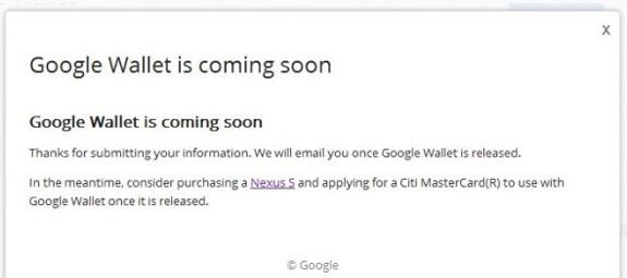 google wallet citi nexus s