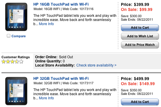 HP TouchPad liquidation