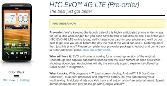 HTC EVO 4G LTE pre-order
