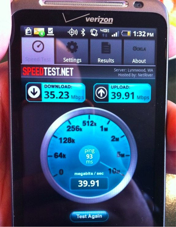 4G LTE Speed Test HTC Thunderbolt