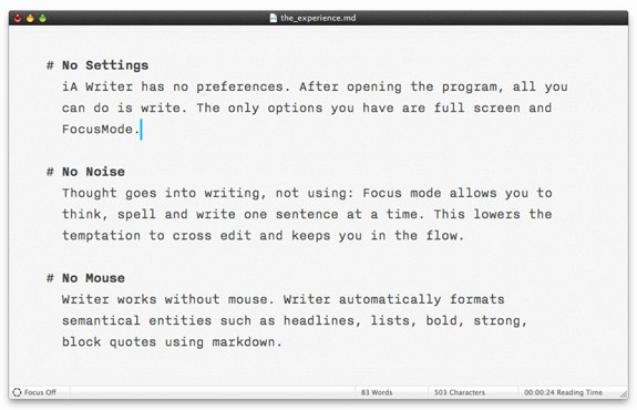 iA Writer 1.3 Mac Mountain Lion