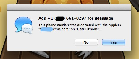iMessage Phone Number Merging 10.8.2