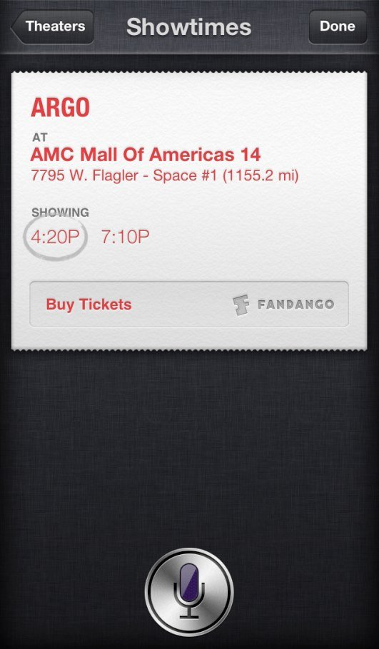 Siri Buying Movie Tickets