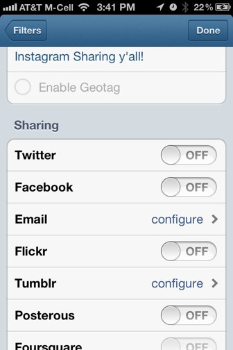 Instagram sharing options