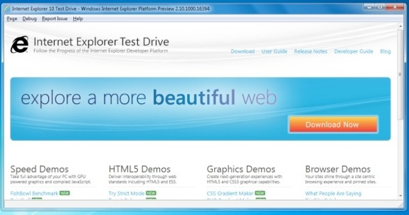 Internet Explorer 10 Test Drive