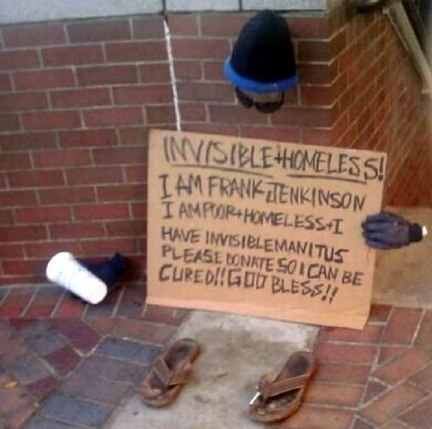 Invisible homeless costume