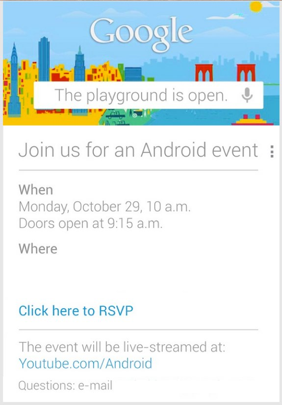 Google Event Oct 29