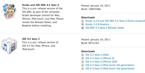 ios 4.3 beta 1