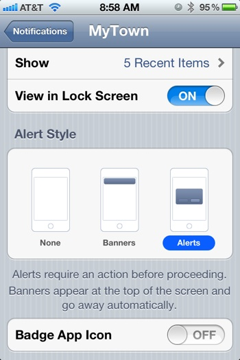 iOS 5 pop-up alerts