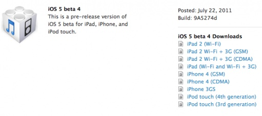 ios 5 beta 4 9a5274d