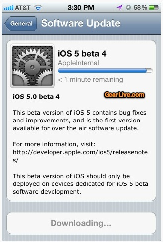 iOS 5 OTA update