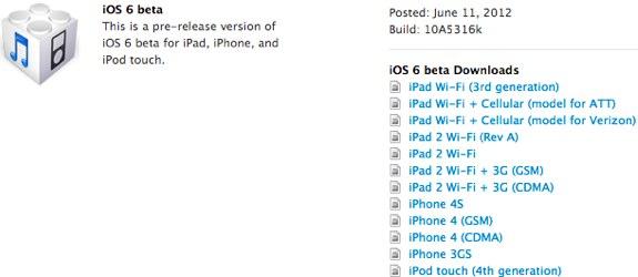 iOS 6 10A5316k