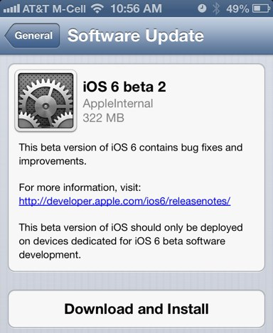 iOS 6 beta 2