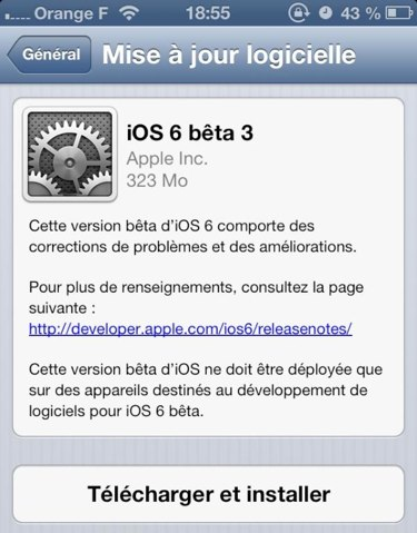 iOS 6 beta 3 french